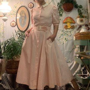 Vintage Laura Ashley pink white polka dot maxi